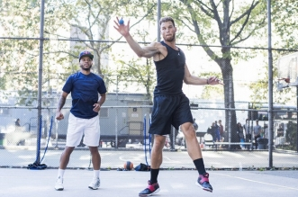 NBA player Blake Griffin trains with handball player Timbo at the the West 4th Street handball courts in New York, NY USA on 15 September, 2015.