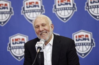 San Antonio Spurs head coach Gregg Popovich speaks during a news conference Friday Oct. 23, 2015, at the Spurs' practice facility in San Antonio. Popovich was hired Friday to replace Mike Krzyzewski as the U.S. basketball coach following the 2016 Olympics. (Edward A. Ornelas/The San Antonio Express-News via AP) RUMBO DE SAN ANTONIO OUT; NO SALES; MANDATORY CREDIT