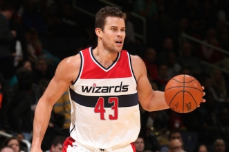 WASHINGTON, DC - NOVEMBER 25:  Kris Humphries #43 of the Washington Wizards handles the ball against the Atlanta Hawks on November 25, 2014 at the Verizon Center in Washington, DC. NOTE TO USER: User expressly acknowledges and agrees that, by downloading and or using this Photograph, user is consenting to the terms and conditions of the Getty Images License Agreement. Mandatory Copyright Notice: Copyright 2014 NBAE (Photo by Ned Dishman/NBAE via Getty Images)