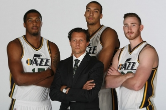 SALT LAKE CITY, UT - SEPTEMBER 28:  (from left) Derrick Favors #15, Quin Snyder Head Coach, Rudy Gobert #27 and Gordon Hayward #20 of the Utah Jazz pose for a photo during Media Day at Zions Basketball Center on September 28, 2015 in Salt Lake City, Utah. NOTE TO USER: User expressly acknowledges and agrees that, by downloading and or using this Photograph, User is consenting to the terms and conditions of the Getty Images License Agreement. Mandatory Copyright Notice: Copyright 2015 NBAE (Photo by Melissa Majchrzak/NBAE via Getty Images)