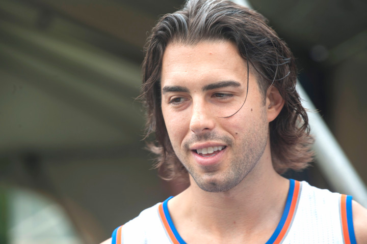 Sasha Vujacic N.Y. Knicks  basketball player responds to questions during media day Monday Sept 28, 2015 in Greenberg, N.Y.   Photo/Douglas Healey