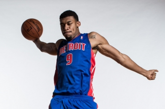 GREENBURGH, NY - AUGUST 06:  Tony Mitchell #9 of the Detroit Pistons poses for a portrait during the 2013 NBA rookie photo shoot at the MSG Training Center on August 6, 2013 in Greenburgh, New York.  NOTE TO USER: User expressly acknowledges and agrees that, by downloading and/or using this Photograph, user is consenting to the terms and conditions of the Getty Images License Agreement.  (Photo by Nick Laham/Getty Images)