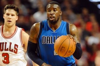 Oct 23, 2015; Lincoln, NE, USA; Dallas Mavericks guard Wesley Matthews (23) dribbles against the Chicago Bulls at Pinnacle Bank Arena. Mandatory Credit: Steven Branscombe-USA TODAY Sports