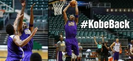 Dunk à deux mains, fadeaway… Kobe Bryant très à l'aise à l'entraînement des Lakers