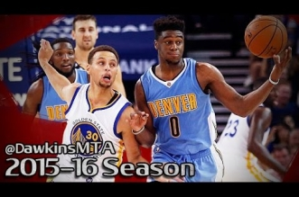 Les highlights du duel Stephen Curry (14 pts, 7 asts) – Emmanuel Mudiay (16 pts, 9 asts)