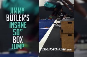 Vidéo : Jimmy Butler sans élan sur une boîte d'1,27m !