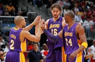 Kobe Bryant, Byron Scott et Pau Gasol
