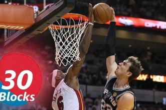 Les 30 meilleurs contres en carrière de LeBron James