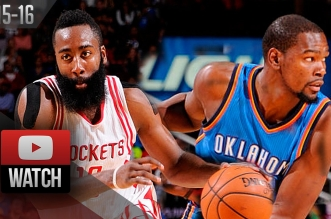 Les highlights de James Harden (37 pts) Vs Kevin Durant (29 pts) et Russell Westbrook (25 pts)