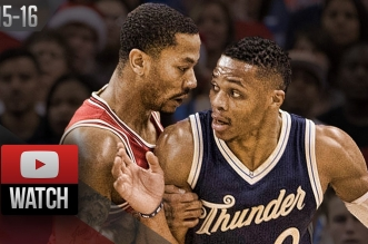 Les highlights du duel Derrick Rose (19 pts) – Russell Westbrook (26 pts, 8asts)