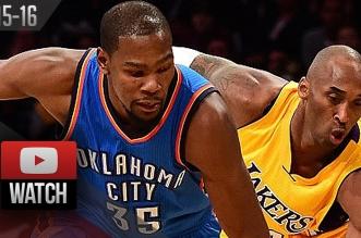 Les highlights du duel Kevin Durant (21 pts) – Kobe Bryant (19 pts)