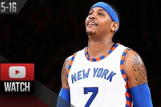 Les highlights du duo Carmelo Anthony (24 pts) – Derrick Williams (18 pts dont 16 en dernier quart)