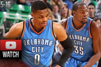 Les highlights du duo Kevin Durant (21 pts) – Russell Westbrook (24 pts, 7 asts)