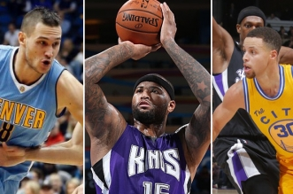 Demarcus cousins, danilo Gallinari et stephen curry