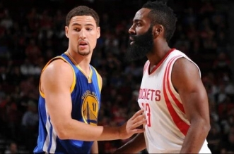 Klay Thompson et James Harden Warriors Rockets