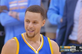 Stephen Curry Warriors face aux Nuggets