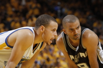 OAKLAND, CA - MAY 10: Stephen Curry #30 of the Golden State Warriors and Tony Parker #9 of the San Antonio Spurs in Game Three of the Western Conference Semifinals during the 2013 NBA Playoffs on May 10, 2013 at Oracle Arena in Oakland, California. NOTE TO USER: User expressly acknowledges and agrees that, by downloading and or using this photograph, user is consenting to the terms and conditions of Getty Images License Agreement. Mandatory Copyright Notice: Copyright 2013 NBAE (Photo by Rocky Widner/NBAE via Getty Images)
