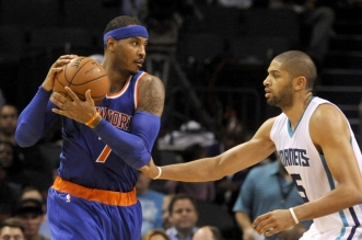 Nov 11, 2015; Charlotte, NC, USA; New York Knicks forward Carmelo Anthony (7) catches a pass as he is defended by Charlotte Hornets guard Nicolas Batum (5) during the second half of the game at Time Warner Cable Arena. Hornets win 95-93. Mandatory Credit: Sam Sharpe-USA TODAY Sports