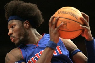 12/15/04 Detroit Pistons Vs. New York Knicks @ MSG : Pistons #3 Ben Wallace drives to the basket the second half. The Pistons closed in during the second half to win 93-92.