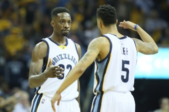 Apr 29, 2015; Memphis, TN, USA; Memphis Grizzlies forward Jeff Green (32) celebrates with guard Courtney Lee (5) after a play against the Portland Trailblazers in game five of the first round of the NBA Playoffs at FedExForum. Memphis defeated Portland 99-93. Mandatory Credit: Nelson Chenault-USA TODAY Sports