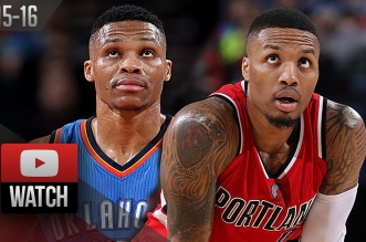 L'énorme duel Damian Lillard (31 pts, 9 asts) – Russell Westbrook (25 pts, 15 asts)