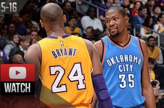 Les highlights de Lou Williams (44 pts), Russell Westbrook (36 pts) et du duel Kobe – Durant