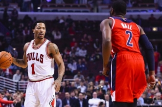 Les highlights du duel Derrick Rose (23 pts) – John Wall (17 pts, 10 asts)