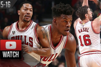 Les highlights du trio Derrick Rose (18 pts), Jimmy Butler (19 pts) et Pau Gasol (17 pts)