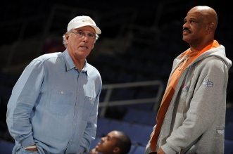 BROOMFIELD, CO - JANUARY 02: Former NBA coaches Bob Hill and John Lucas take in the game between the Tulsa 66ers and the Colorado 14ers on January 02, 2009 at the Broomfield Events Center in Broomfield, Colorado. NOTE TO USER: User expressly acknowledges and agrees that, by downloading and/or using this Photograph, user is consenting to the terms and conditions of the Getty Images License Agreement. Mandatory Copyright Notice: Copyright 2009 NBAE (Photo by Garrett W. Ellwood/NBAE via Getty Images)