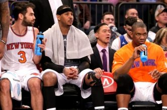 Carmelo Anthony, Jose Calderon et Kevin Seraphin