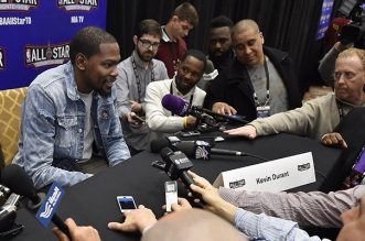 Feb 12, 2016; Toronto, Ontario, Canada; Oklahoma City Kevin Durant (35) speaks during media day for the 2016 NBA All Star Game at Sheraton Centre. Mandatory Credit: Bob Donnan-USA TODAY Sports