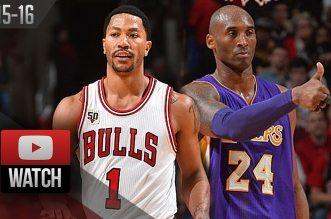 Les highlights du duel à distance Derrick Rose 24 pts) – Kobe Bryant (22 pts)