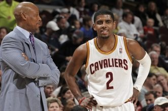 CLEVELAND, OH - APRIL 25:  Byron Scott, Head Coach of the Cleveland Cavaliers talks with Kyrie Irving #2 during a break in the action against the Washington Wizards at The Quicken Loans Arena on April 25, 2012 in Cleveland, Ohio.  NOTE TO USER: User expressly acknowledges and agrees that, by downloading and/or using this Photograph, user is consenting to the terms and conditions of the Getty Images License Agreement. Mandatory Copyright Notice: Copyright 2012 NBAE (Photo by David Liam Kyle/NBAE via Getty Images)