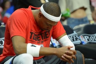 Apr 27, 2016; Los Angeles, CA, USA; Los Angeles Clippers forward Paul Pierce (34) sits on the bench before the start of game five of the first round of the NBA Playoffs against the Portland Trail Blazers at Staples Center. Mandatory Credit: Jayne Kamin-Oncea-USA TODAY Sports