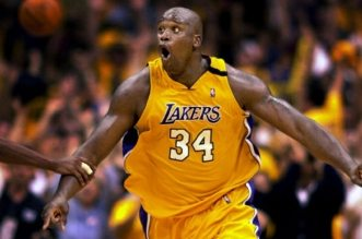 Los Angeles Lakers' Shaquille O'Neal reacts after sinking a basket in the closing seconds of Game 7 of the Western Conference Finals against the Portland Trail Blazers, Sunday, June 4, 2000, in Los Angeles. The Lakers won the game 89-84 to advance to the NBA Finals. (AP Photo/Mark J. Terrill)