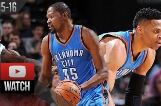 Les highlights du duo Russell Westbrook (triple-double) – Kevin Durant (26 pts, 8 asts)