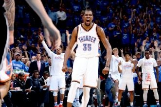 OKLAHOMA CITY, OK- MAY 12:  Kevin Durant #35 of the Oklahoma City Thunder celebrates during the game against the San Antonio Spurs in Game Six of the Western Conference Semifinals during the 2016 NBA Playoffs on May 12, 2016 at Chesapeake Energy Arena in Oklahoma City, Oklahoma. NOTE TO USER: User expressly acknowledges and agrees that, by downloading and or using this photograph, User is consenting to the terms and conditions of the Getty Images License Agreement. Mandatory Copyright Notice: Copyright 2016 NBAE (Photo by Nathaniel S. Butler/NBAE via Getty Images)