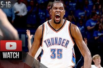 Les highlights de Kevin Durant (37 pts) et Russell Westbrook (28 pts, 12 asts)