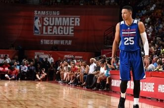 LAS VEGAS, NV - JULY 9: Ben Simmons #25 of Philadelphia 76ers looks on during the game against the Los Angeles Lakers during the 2016 NBA Las Vegas Summer League on July 9, 2016 at The Thomas & Mack Center in Las Vegas, Nevada. NOTE TO USER: User expressly acknowledges and agrees that, by downloading and or using this photograph, user is consenting to the terms and conditions of Getty Images License Agreement. Mandatory Copyright Notice: Copyright 2016 NBAE (Photo by Garrett Ellwood/NBAE via Getty Images)