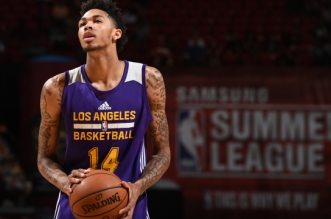 LAS VEGAS, NV - JULY 8: Brandon Ingram #14 of the Los Angeles Lakers shoots against the New Orleans Pelicans during the 2016 Las Vegas Summer League game on July 8, 2016 at Thomas and Mack Center in Las Vegas, Nevada. NOTE TO USER: User expressly acknowledges and agrees that, by downloading and or using this Photograph, user is consenting to the terms and conditions of the Getty Images License Agreement. Mandatory Copyright Notice: Copyright 2016 NBAE (Photo by Garrett Ellwood/NBAE via Getty Images)
