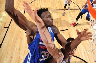 LAS VEGAS, NV - JULY 9: Jerami Grant #39 of Philadelphia 76ers dunks the ball during the game against the Los Angeles Lakers during the 2016 NBA Las Vegas Summer League on July 9, 2016 at The Thomas & Mack Center in Las Vegas, Nevada. NOTE TO USER: User expressly acknowledges and agrees that, by downloading and or using this photograph, user is consenting to the terms and conditions of Getty Images License Agreement. Mandatory Copyright Notice: Copyright 2016 NBAE (Photo by Garrett Ellwood/NBAE via Getty Images)