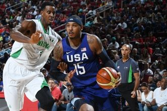 HOUSTON, TX - AUGUST 1:  Carmelo Anthony #15 of the USA Basketball Men's National Team drives to the basket against Nigeria on August 1, 2016 at the Toyota Center in Houston, Texas. NOTE TO USER: User expressly acknowledges and agrees that, by downloading and or using this photograph, User is consenting to the terms and conditions of the Getty Images License Agreement. Mandatory Copyright Notice: Copyright 2016 NBAE (Photo by Garrett Ellwood/NBAE via Getty Images)
