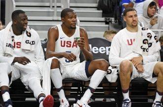 Kevin Durant, Draymond Green et Klay THompson