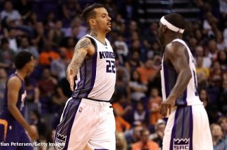 PHOENIX, AZ - OCTOBER 26:  Matt Barnes #22 of the Sacramento Kings high fives Ty Lawson #10 after scoring against the Phoenix Suns during the second half of the NBA game at Talking Stick Resort Arena on October 26, 2016 in Phoenix, Arizona.  The Kings defeated the Suns 113-94. NOTE TO USER: User expressly acknowledges and agrees that, by downloading and or using this photograph, User is consenting to the terms and conditions of the Getty Images License Agreement.  (Photo by Christian Petersen/Getty Images)