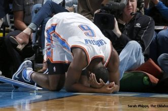 Oklahoma City's Semaj Christon (6) reacts after an injury during the NBA game between the Oklahoma City Thunder and Brooklyn Nets at the Chesapeake Energy Arena,  Friday, Nov. 18, 2016. Photo by Sarah Phipps, The Oklahoman