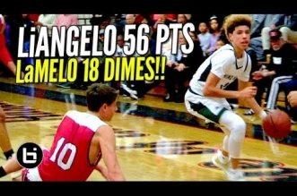 High School: 56 points et 24 points/18 passes pourLi'Angelo & LaMelo Ball