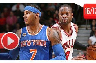 Les highlights du duo Kristaps Porzingis (27 pts) – Carmelo Anthony (25 pts) vs Dwyane Wade (35 pts)
