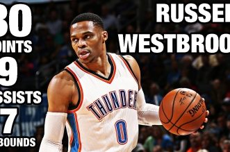 Les highlights du duo Russell Westbrook (30 pts, 9 asts) – Victor Oladipo (29 pts, 10 rbds)