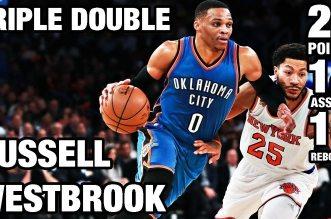 Les highlights du triple-double monstrueux de Russell Westbrook face à Derrick Rose (30 pts)