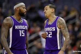 WASHINGTON, DC - NOVEMBER 28: DeMarcus Cousins #15 and Matt Barnes #22 of the Sacramento Kings talk on the floor against the Washington Wizards at Verizon Center on November 28, 2016 in Washington, DC. NOTE TO USER: User expressly acknowledges and agrees that, by downloading and or using this photograph, User is consenting to the terms and conditions of the Getty Images License Agreement.  (Photo by Rob Carr/Getty Images)